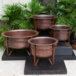 Rustic copper fire pits